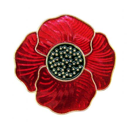 Deep Red Poppy Lapel Badge Brooch